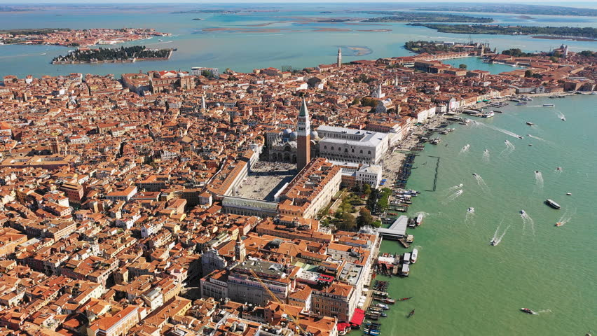 Aerial view of St Mark's Square in historical part of Venice - landscape panorama of Italy from above, Europe, 4k UHD   Shutterstock HD Video #1017171256