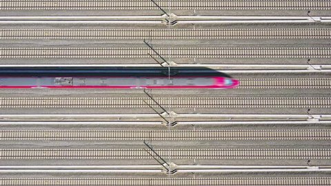 highspeed train aerial top down view