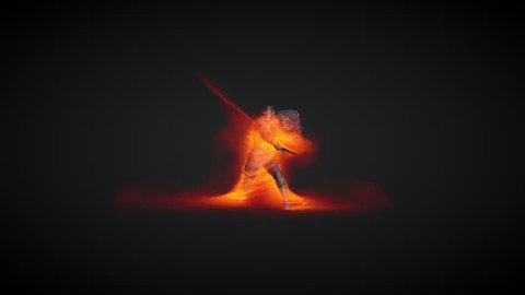 Animation of a warrior using fire magic attack