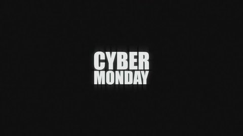Cyber Monday advertising commercial text with glitch broken tv signal style. Promotional ad for discounts in e-shops. Ultra HD or 4K resolution.