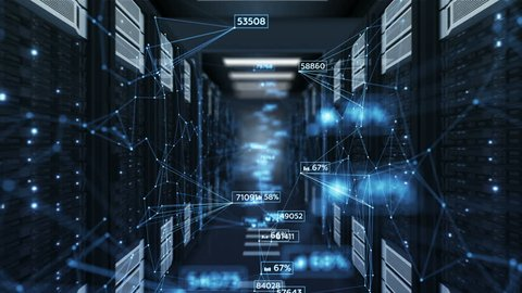 Beautiful Blue Abstract Numbers Moving in Abstract Server Room with DOF Blur. Looped 3d Animation of Datacenter. Business and Futuristic Technology Concept. 4k Ultra HD 3840x2160.