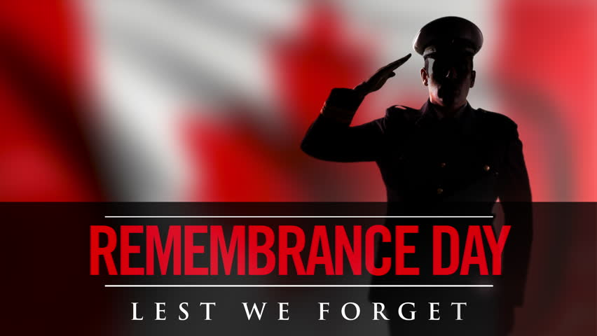 Remembrance Day Canadian Soldier Salute, Lest We Forget November 11 War Memorial