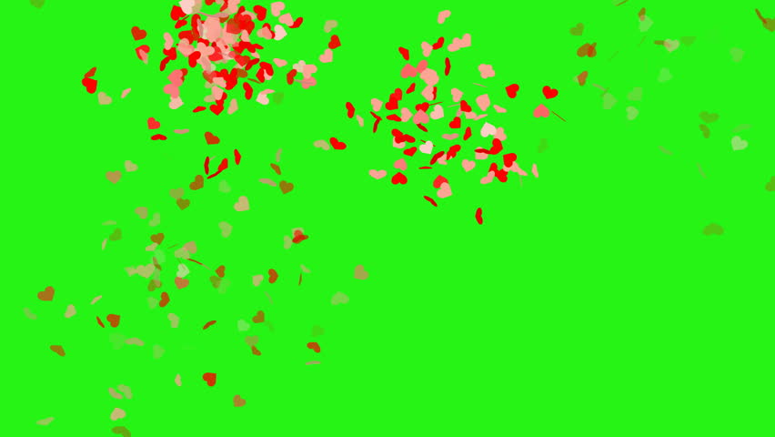 Heart shape confetti with camera flashes - seamless loop, green screen | Shutterstock HD Video #1017341116