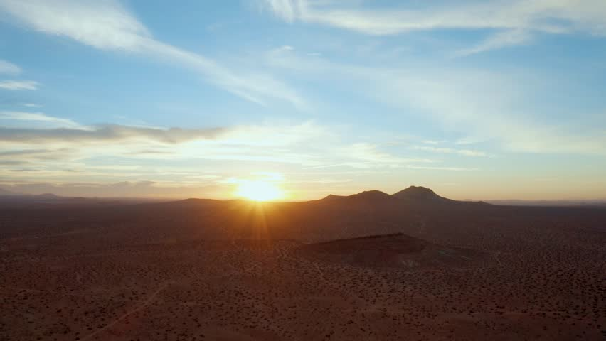 Flying high over the Mojave Desert at sunrise, Aerial Parallax Effect   Shutterstock HD Video #1017357976