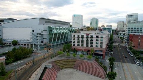 TACOMA, WASHINGTON/USA - July 2017: Greater Tacoma Convention Center Aerial View Downtown