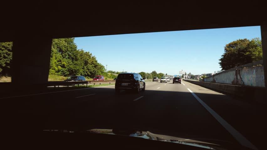 STRASBOURG HOENHEIM, FRANCE - CIRCA 2018: Driver POV at cars driving on Autoroute de l'Est leaving Strasbourg toward Paris 4k uhd footage of French autoroute