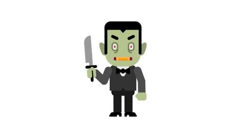 Vampire angry stomping and clenching teeth. Halloween character. Alpha channel. Loop animation. Motion graphics.