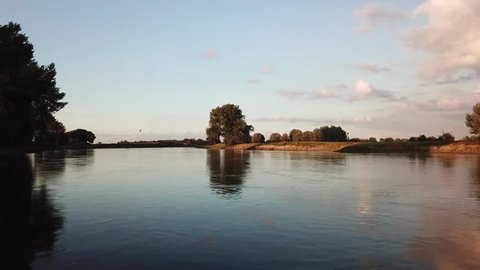Drone images taken by sunset near Deventer, over the IJssel in The Netherlands.