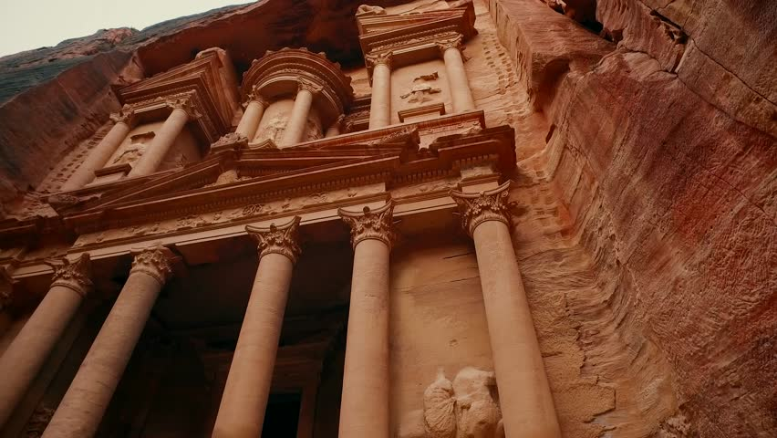 Jordan Petra Facade Of The Treasury Building The Ancient Nabatean | Shutterstock HD Video #1017447436