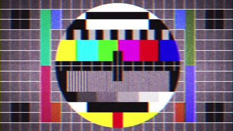 Old Tv Test Signal Sight Background Loop/ 4k animation of an old retro pal secam sight screen like old television test signal