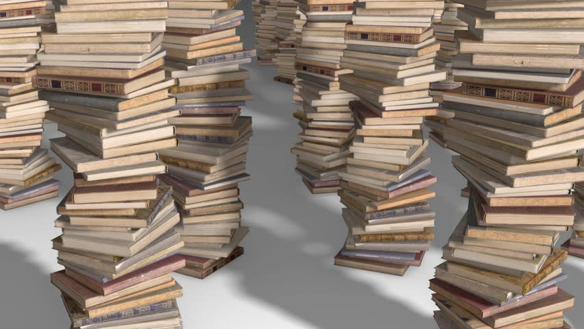 Free flight camera between stacks of old books, folded spiral. | Shutterstock HD Video #1017517666