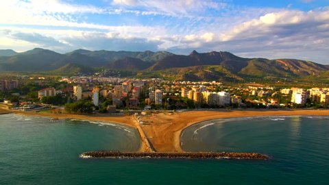 Aerial view from a Drone in beach of Benicassim, Castellon, Spain. 4k Video