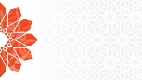 Animated orange arabesque and gray one on background, for religious greetings as ramadan, Hajj, Eid and common Islamic purposes
