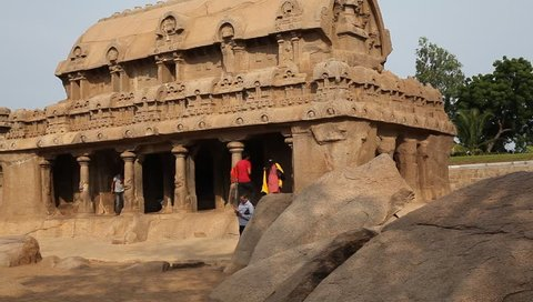 MAMALLAPURAM,TAMIL NADU, INDIA - SEPTEMBER 2018: Historical monolithic architecture built by the Pallava dynasty, Mahabalipuram, Kancheepuram District, Tamil Nadu, India