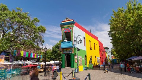 Buenos Aires, Argentina - April 2, 2018: Colorful building and tourist time lapse hyperlapse in La Boca Caminito