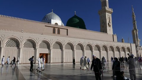 MEDINA, SAUDI ARABIA - DEC 2016 : Nabawi Mosque in Medina (City of Lights), Saudi Arabia.Nabawi mosque is Islam's second holiest mosque after Masjidil Haram (in Mecca, Saudi Arabia)