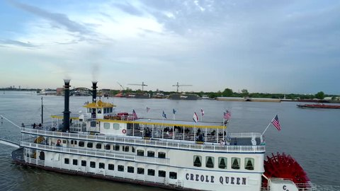 Riverboat Party on Mississippi River, Drone Shot