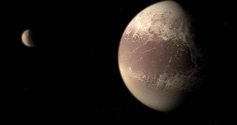 Charon, natural satellite, orbiting around of dwarf planet Pluto