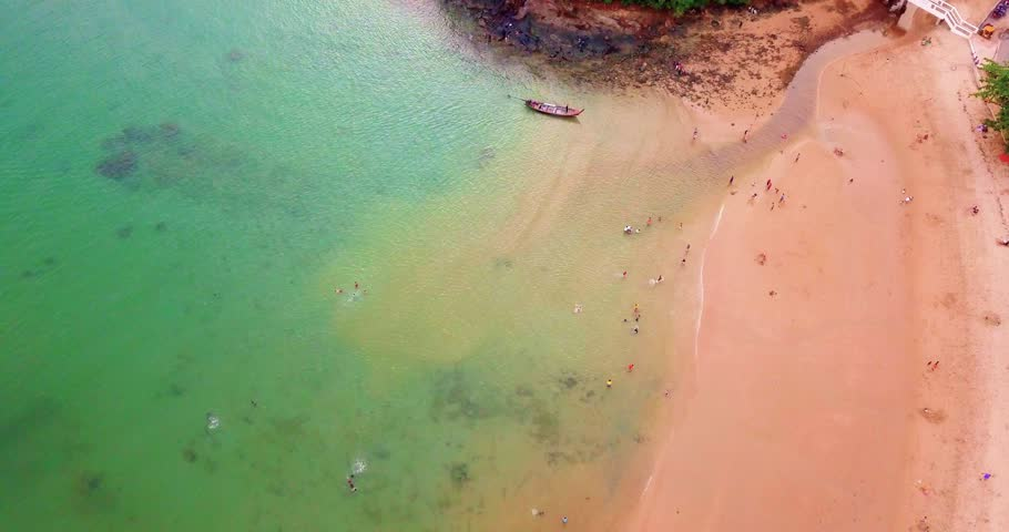 Ao Yon Beach at Phuket island. Aerial drone view. Panwa | Shutterstock HD Video #1017866386