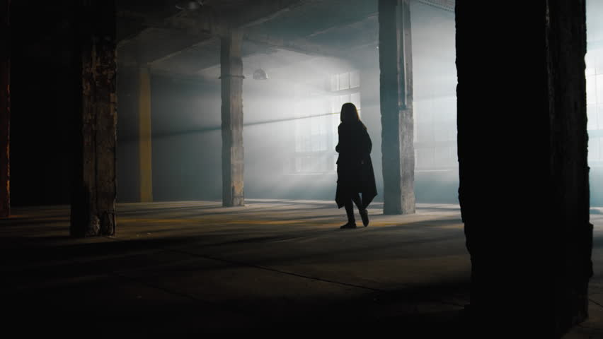 Slow motion dancing girl, dancer performance contemporary modern dance in industrial art space with smog and strong backlight from large windows | Shutterstock HD Video #1017951346