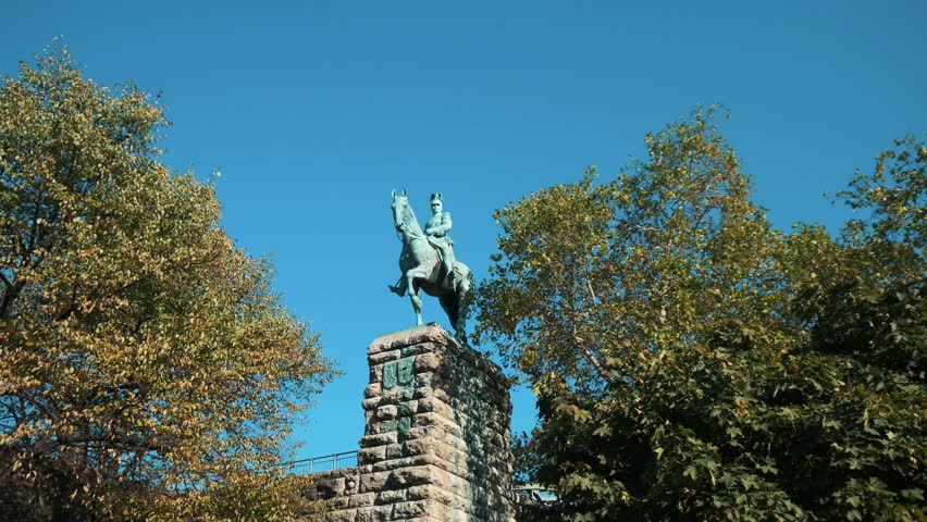 Horseman Statue With Beautiful Blue Sky And Green Leaves | Shutterstock HD Video #1017954016