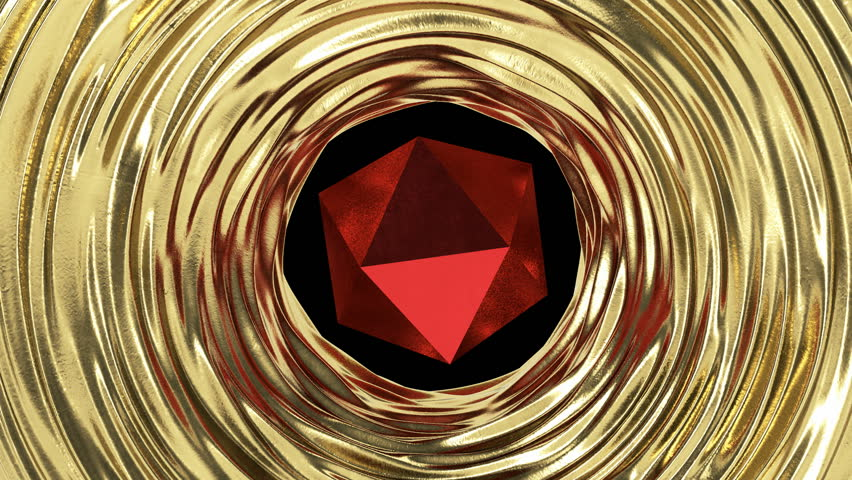 Red geometric object with gold liquid metal around. Abstract loop animation. | Shutterstock HD Video #1018020856