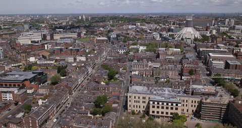 Liverpool Aerial View Above City Skyline Bird Eye England Great Britain Houses