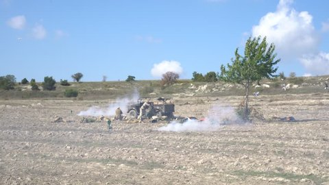 Pervomayka / Russia - september 16 2018: Battlefield. Real explosions and shooting. Military conflict. War in Western Asia