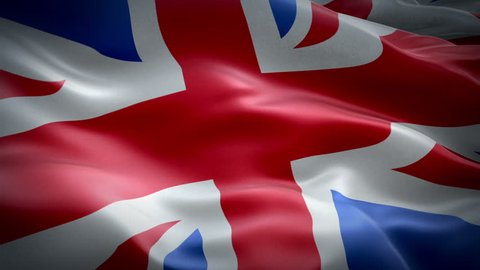 United Kingdom flag video waving in wind Of Great Britain and Northern Ireland. Realistic Union Jack Flag background. British UK Flag Looping Closeup 1080p Full HD 1920X1080 footage. EU Brexit film
