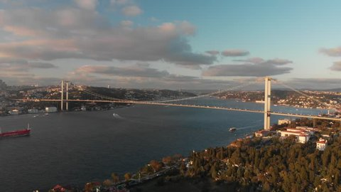 Aerial view of 15th July Martyrs Bridge (formerly Bosphorus Bridge) between Asia and Europe aerial view from Asian side in Istanbul Turkey
