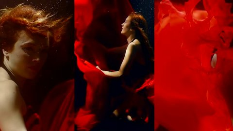 Vertical video of a girl under water in the dark in a long red dress floats like in a fairy tale mermaid