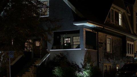 Night time urban house exterior