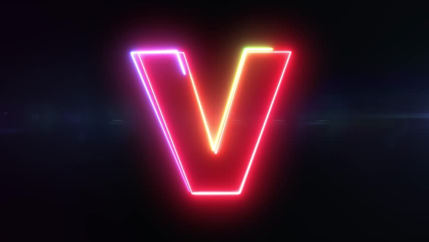 Letter V - colorful glowing outline alphabet symbol on blue lens flare dark background | Shutterstock HD Video #1018142386