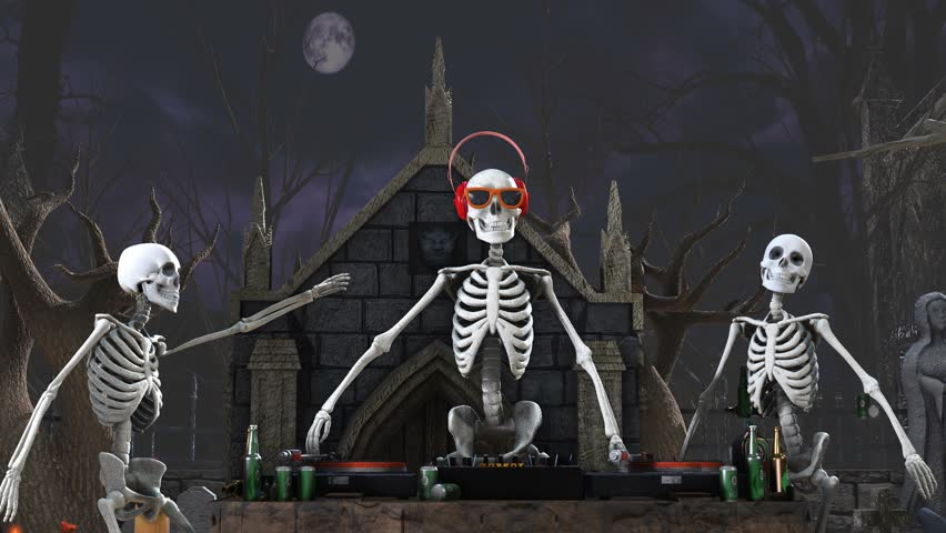 Seamless animation of a DJ skeleton and skeletons dancers in a cemetery at night. Funny halloween background.   Shutterstock HD Video #1018144246