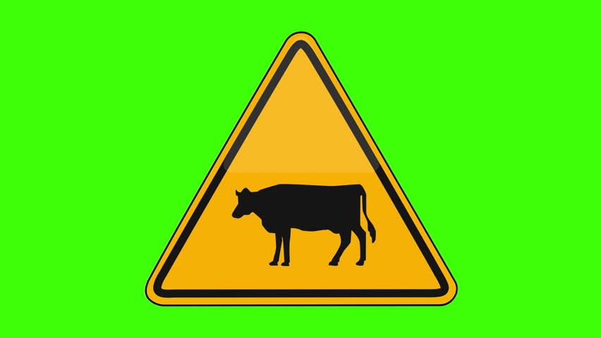 Symbol Cattle Crossing Yellow Sign Green Screen   Shutterstock HD Video #1018173646