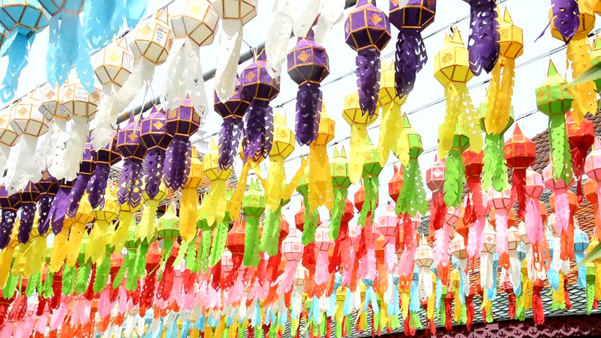 Colorful of lanna lantern hang on the rope in northern thailand at Loi Krathong ,Yee Peng Festival,Thailand