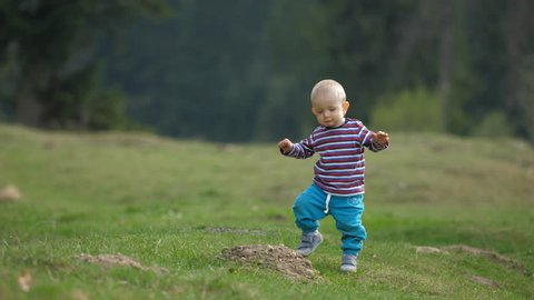 Lovely baby child learning to walk in nature, determined blond boy falling down and rising up, stepping on green grass, development process, do not quit, independent human being