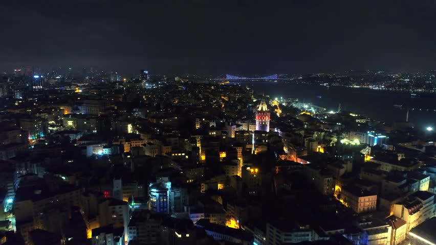 Istanbul By Night Aerial View of Galata Tower and Bosphorus