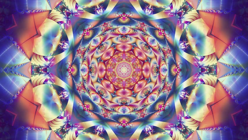 Multicolored kaleidoscope sequence patterns. Abstract multicolored motion graphics background. Beautiful bright ornament. 4k Seamless loop.