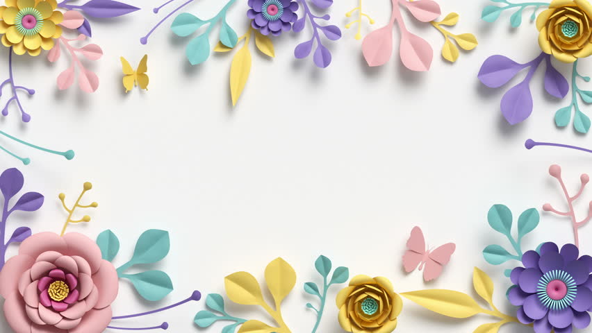 Paper flowers growing, appearing, botanical background, decorative frame, blank space for text, paper craft, diy project, intro, isolated on white background | Shutterstock HD Video #1018379236