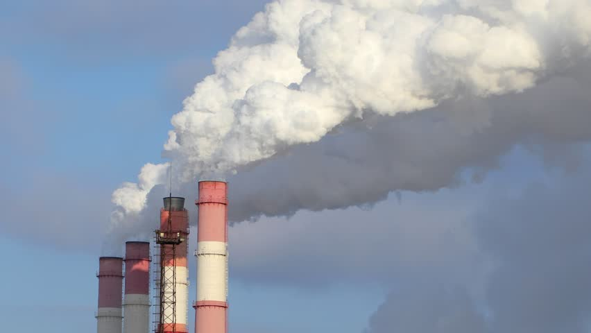 Smoke from the pipes of plant. Clouds of white smoke. Energy generation and environmental pollution. | Shutterstock HD Video #1018380046