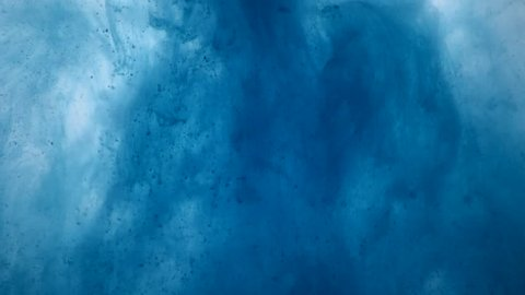 One ink flow, infusion blue dye cloud or smoke, ink inject on white in slow motion. Blue tint splatter in water. Inky background or smoke backdrop, for ink effects use luma matte like alpha mask