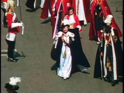 WINDSOR, ENGLAND, 1976, Order of the Garter, Queen Elizabeth, Queen Mother