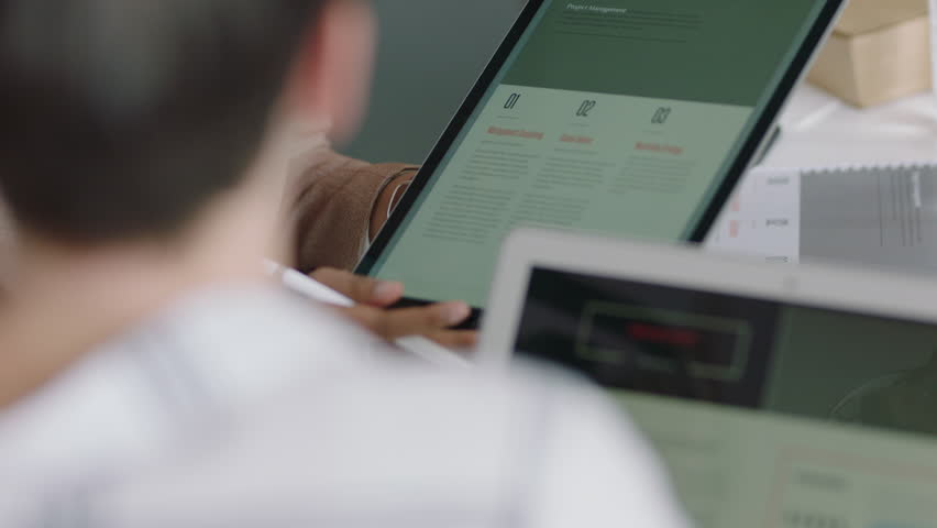 Professional business woman using tablet computer presenting marketing strategy sharing ideas talking to client showing development plan on mobile technology in office meeting   Shutterstock HD Video #1018535716