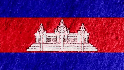 stop motion pastel chalk crayon drawn CAMBODIA flag cartoon animation seamless loop background new quality national patriotic colorful symbol video footage