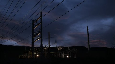 Electrical power plant at night