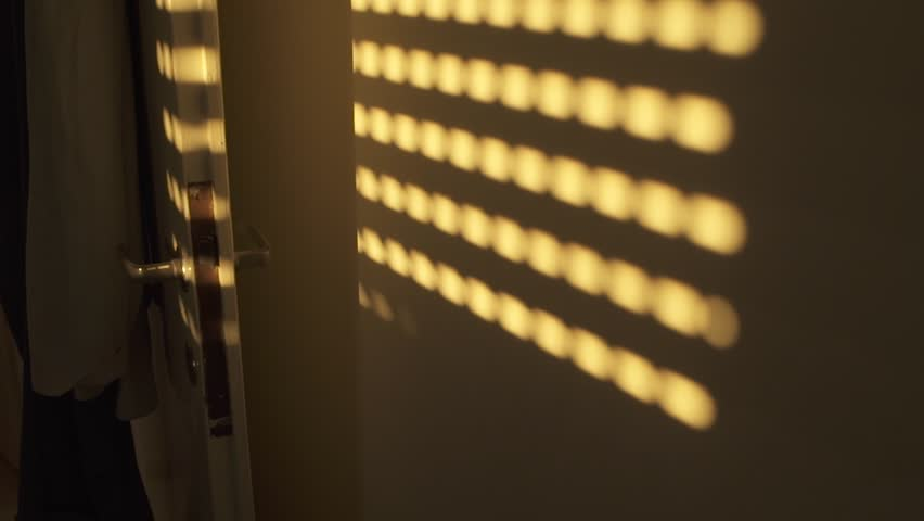 Shadow of window blinds on an apartment wall - dark room