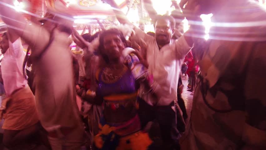 KULASEKHARAPATNAM, INDIA - OCTOBER 15, 2018: Devotees Dancing At Hindu Temple, Divine Dance, Hindu Devotees Worship #1018623286