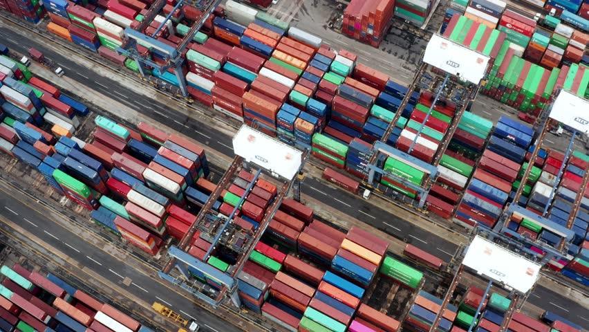 Kwai Tsing, Hong Kong, 09 October 2018:- Kwai Tsing Container Terminals | Shutterstock HD Video #1018629346