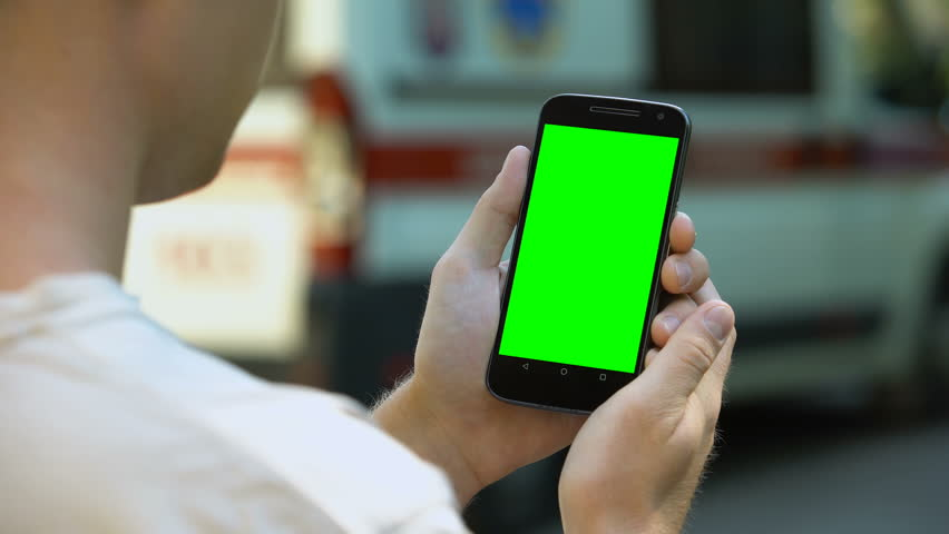 Man scrolling phone touchscreen, online ambulance tracking concept, navigation #1018641766